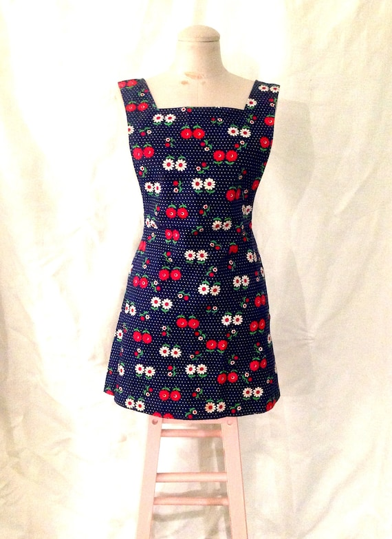 1970's 70s Vintage Jumper Dress / Skirt Overalls /