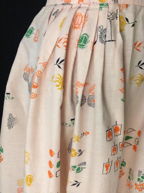 Gardening Gal Novelty Print Skirt / 1950's 50s / S