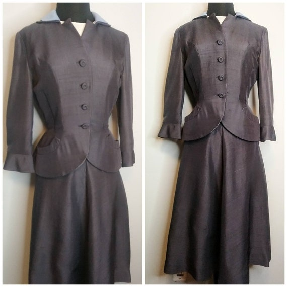 RARE! Early 1950's 50s  Summer Silk 2 Piece Suit b