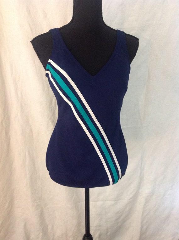 Mod Bathing Suit / Swimsuit Swimwear/ Navy Blue On