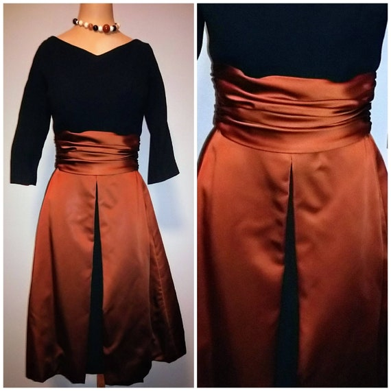 1950's 50s Liquid Bronze Satin + Black Crepe Cockt