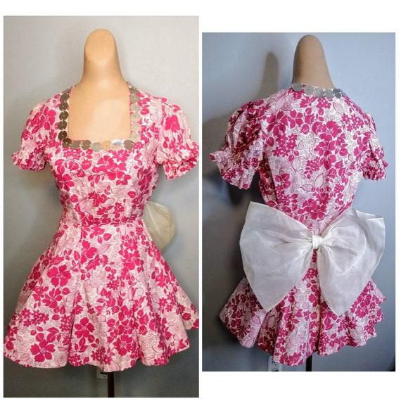 RARE! 1940's 40s Hot Pink Costume Mini Dress / Dan
