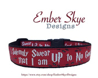 """Harry Potter """"I Solemnly Swear That I Am Up To No Good"""" Red Adjustable Dog Collar 1"""" Wide Fits 10"""" to 15"""" Neck"""