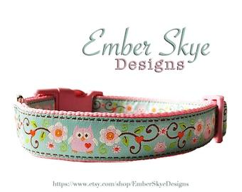 "Blue and Pink Owl Adjustable Dog Collar 1"" width"