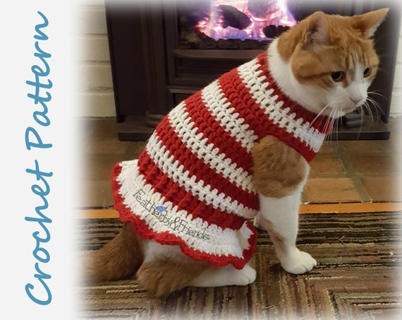 Pattern Crochet Candy Cane Pet Sweater for Cats or Small Dogs