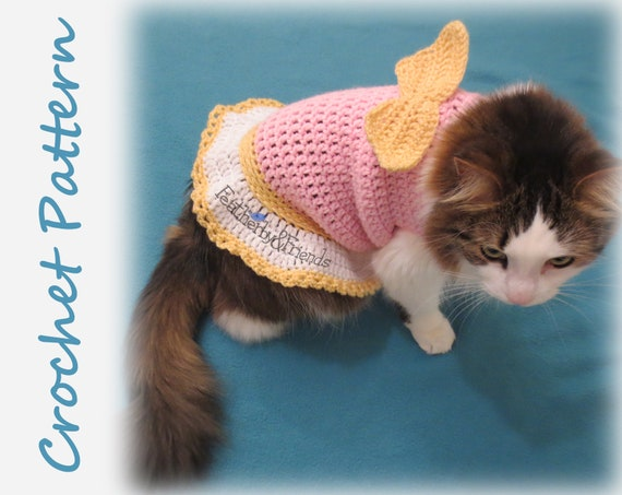 Pattern Crochet Valentines Little Cherub Pet Sweater for Cats or Small  Dogs Angel Wings