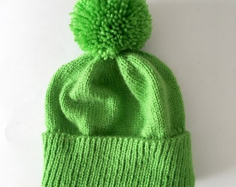 Lime Green Winter Hat - Pom-pom hat - custom hat - knitted hat - green  knitted hat 1768cde77be8