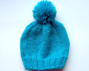 Teal Baby pom pom beanie - 6 month old hat - baby pom pom hat a - knitted  baby hat - custom beanie - customizable baby hat - teal hat 77e2de3c1982