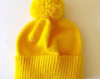 8edb06f07c2b63 Yellow knitted hat - adult hat - custom hat - yellow pom-pom hat - adult winter  hat - adult custom hat - yellow skiing hat