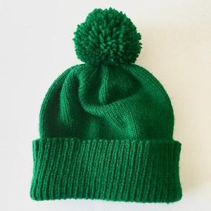 dark green pom pom hat 6 month old hat Forest green baby hat custom baby hat dark green baby hat knitted green hat