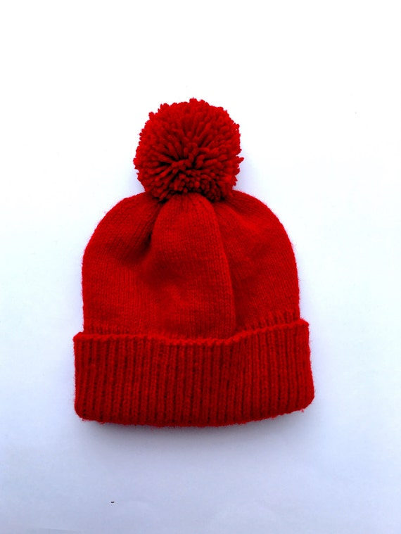 ef516fcf96f Red knitted hat red pompom hat adult knitted hat red