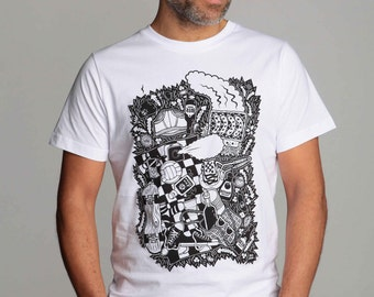 "mens t-shirt ""Park Life"" organic cotton non-toxic  eco-friendly water-based print colours"