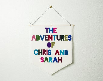 the adventures of... EXTRA LARGE wall hanging / banner // kids banner, custom playroom wall decor, wedding gift, custom banner, adventure