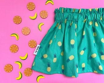 Pineapple Skirt | Tutti Frutti Party Outfit | Cotton Circle Skirt | Fruit Twirl Skirt | Twotti Frutti Birthday Outfit | Baby, Toddler, Kids