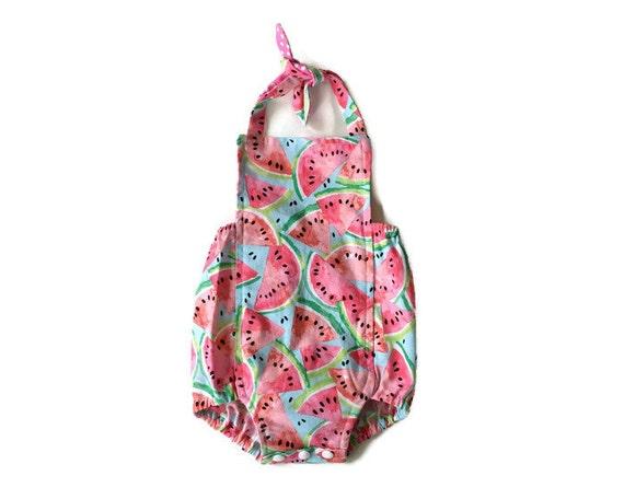 e25027203ab3 3 6m Watermelon Romper    Baby Girl Romper Watermelon Outfit