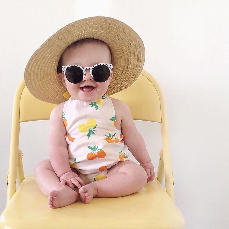 d5a08d6488ee Citrus Baby Girl Romper Lemons Oranges Bubble Summer