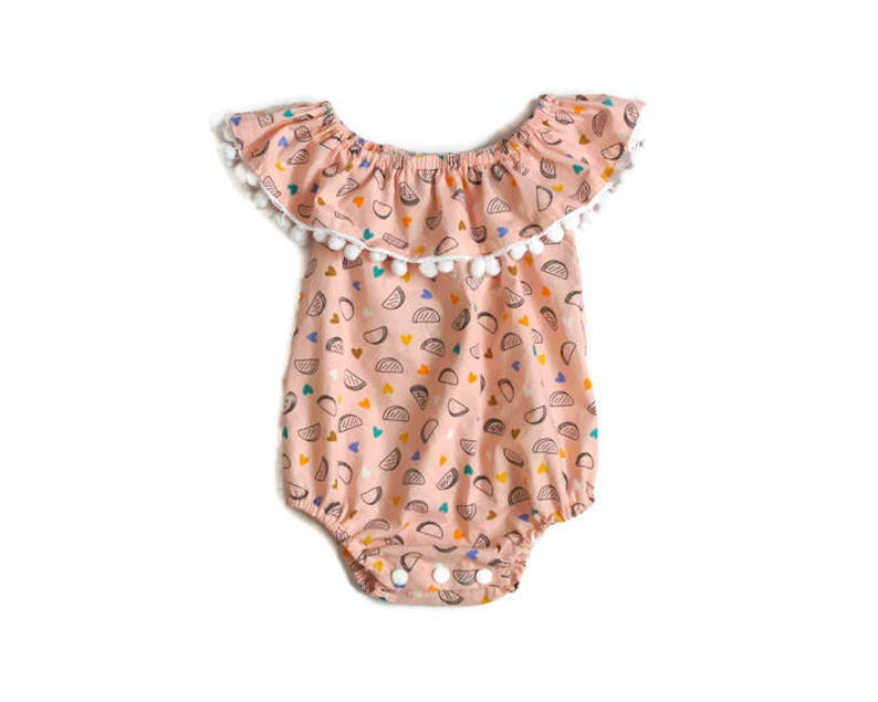 89692383b09e Ruffle Romper Baby Girl Taco Outfit Off The Shoulder