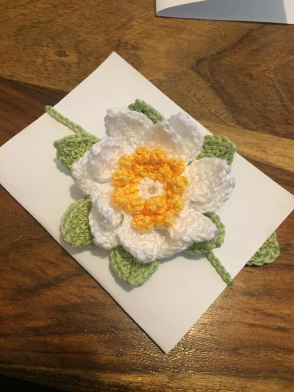Lotus flower crochet bookmark brooch hairclip etsy zoom izmirmasajfo