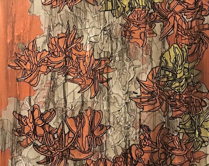 Flowers - orange - Original Abstract Art