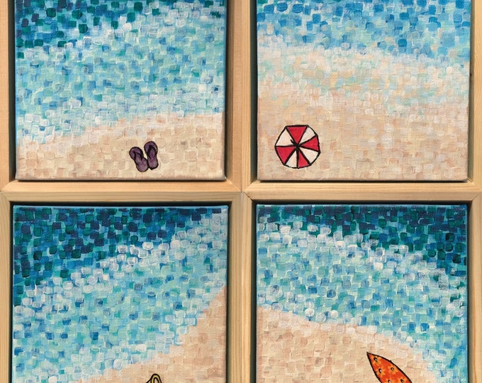 Beach Series - Set of 4 smalll paintings - CZ21015 - each painting 17cm x 17cm (FRAMED)