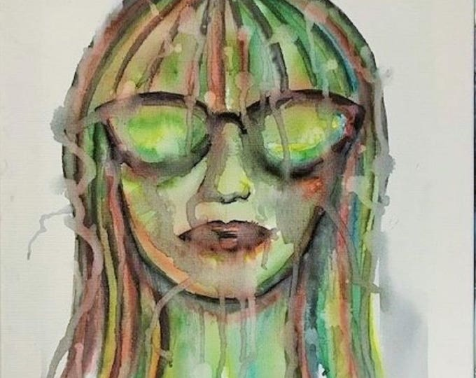 Woman with sunglasses - 40cm x 40cm - Original Abstract Art