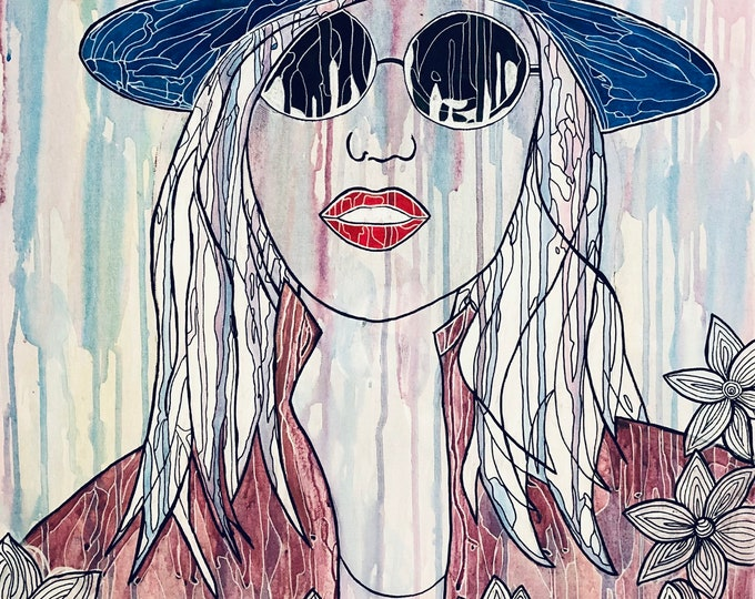 Abstract Girl in a blue hat CZ19004 - 51cm x 76cm