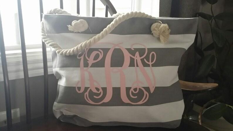 Monogrammed Wedding Tote Bags monogrammed bridesmaid bags image 0