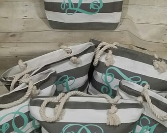 Set of 7 Monogrammed Beach Totes- Grey and Mint Tote, Custom Bag, Bridesmaid Gifts, Bridal Party Gifts, Striped Tote