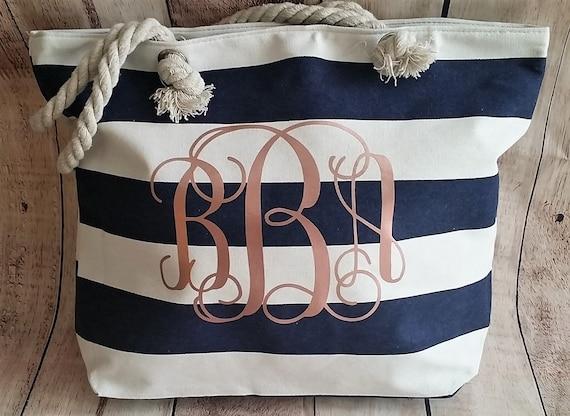 rose gold monogrammed beach bag navy and rose gold bag etsy