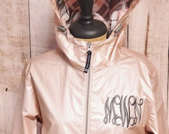 Rose Gold Charles River Monogrammed Rain Jacket, New Englander Monogrammed Rain Coat, Personalized Rain Jacket, Pink Metallic Rain Jacket