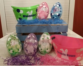 Personalized Easter Basket,  Easter Bucket, Monogram Easter Basket, Girls Basket, Boy's Easter Basket, Kids Easter, Easter Gift