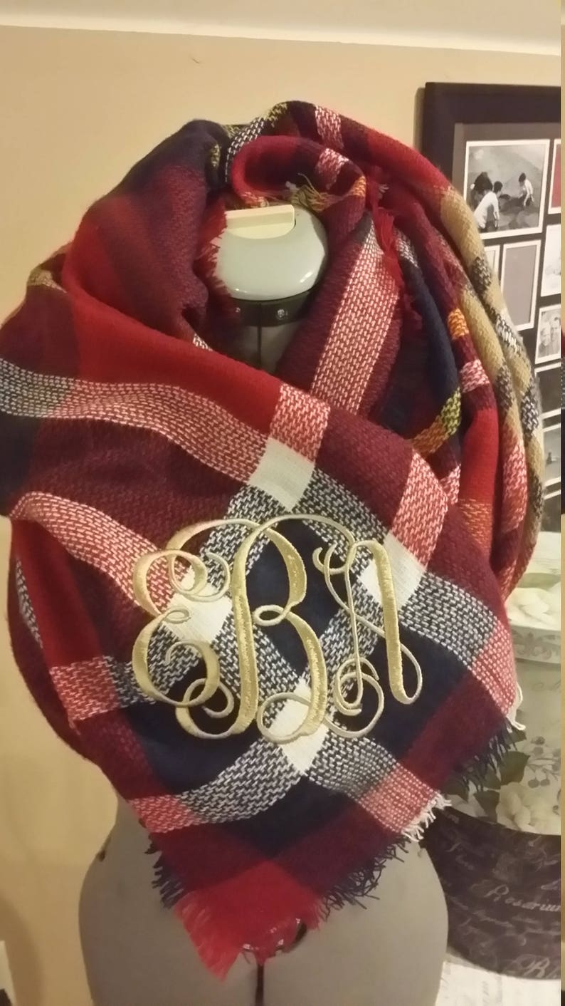 5c98bea759048 Red and Navy Monogrammed Blanket Scarf | Etsy
