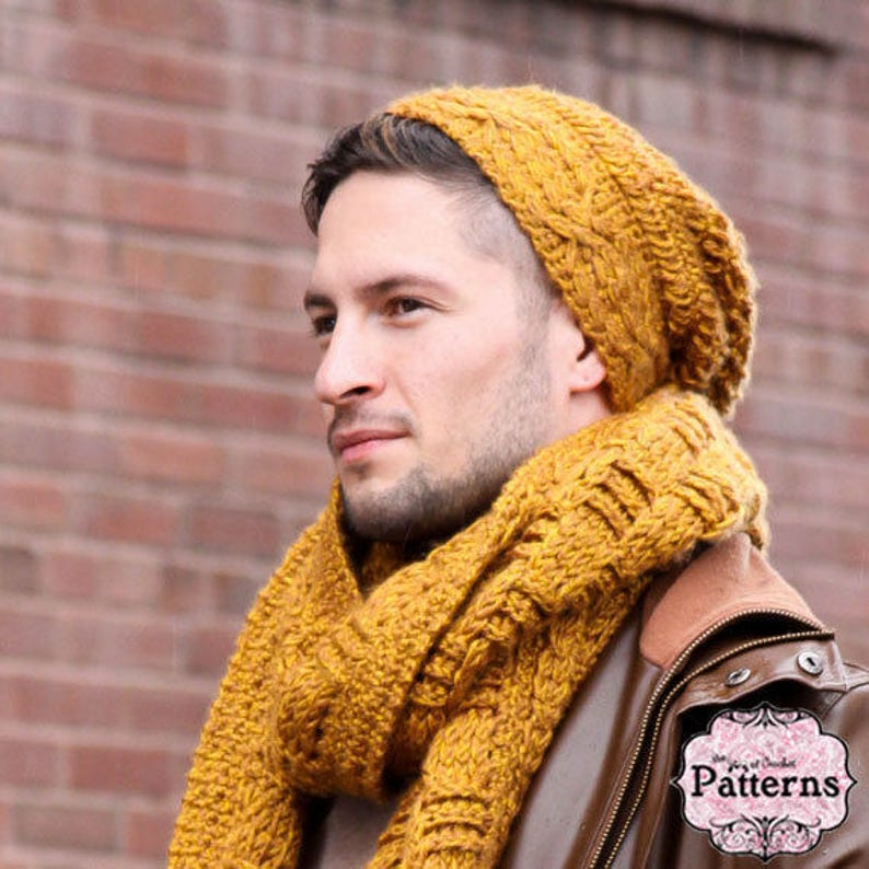 CROCHET PATTERN Cabled Brim Hipster Hat image 0