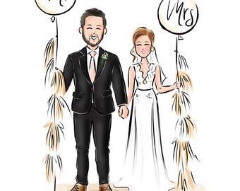 Wedding Gift // Custom Couple Illustration //  Save the Date // Wedding Illustration (Digital)