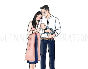 Custom Family Portrait, Custom Illustration (Digital)
