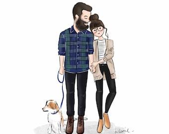 Couple Illustration Etsy