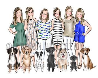 Fashion Illustration, Custom Group Portrait, Graduation Gift, Gift for Friends/ Colleagues (Digital)