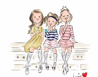 Custom Kids Portrait, Custom Illustration, Father's Day Gift, Nursery Print, Logo Illustration (Digital)