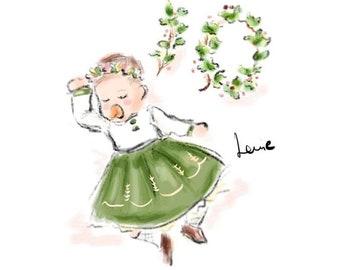 Custom Illustration, Custom Children Illustration, Father's Day Gift, Pencil Sketch and Watercolour (Digital)