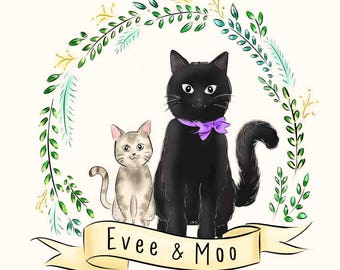 Custom Pet Illustration, Custom Pet Portrait, Cartoon/ Doodle Drawing (Digital)
