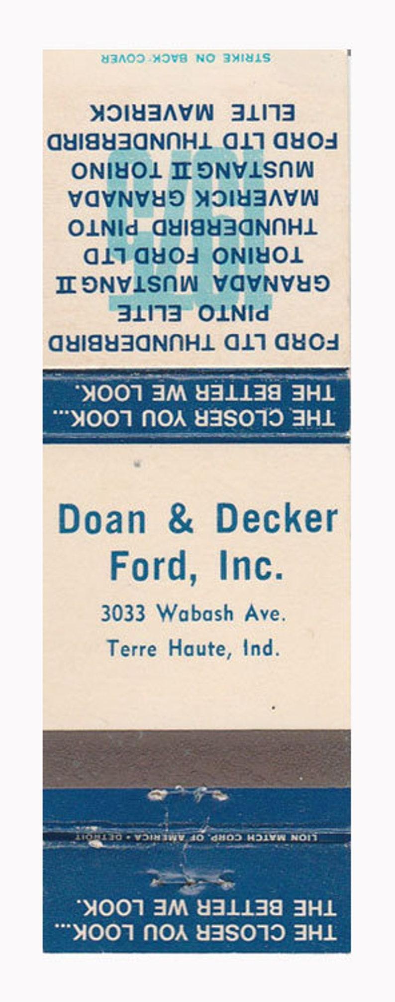 Doan Decker Ford Inc Matchbook Cover Terre Haute In Th1