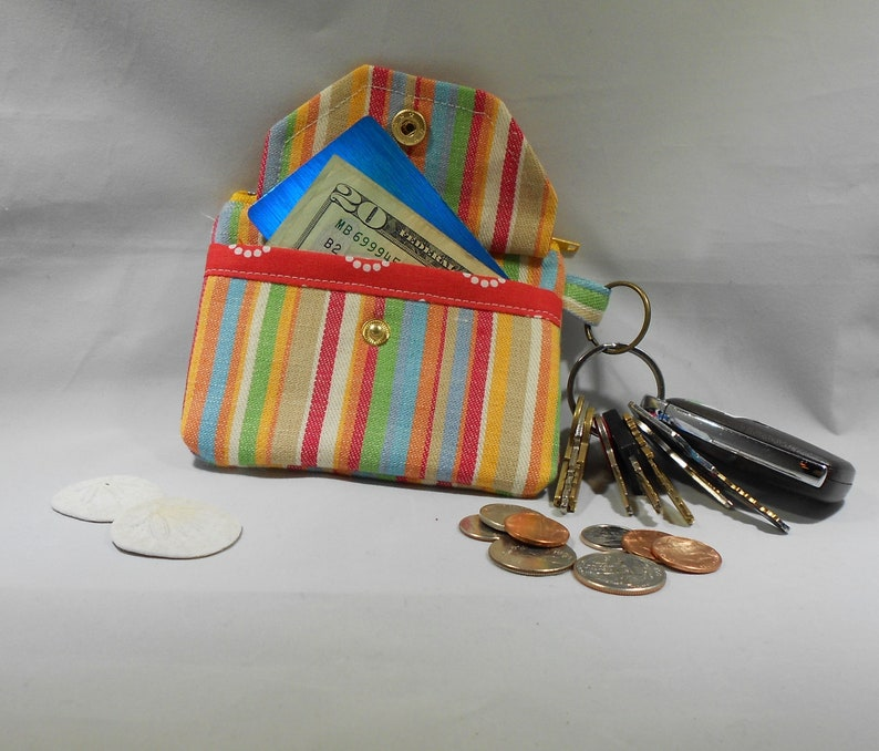 stroller Sunny Denim Stripe Key Chain Coin Purse backpack Attach to purse Snap Card Pocket Minimalist 5 x 3-12  Made in USA
