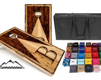 Wood Letter Design Cornhole Solutions Bundle - Includes(2) Regulation Boards and (8) Playing Bags, with a Carrying Case! Plus Free Shipping!