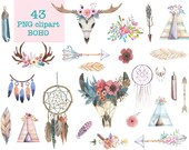 43x Watercolor Boho Teepee Clipart feathers Horns Wedding Nursery Invitation, Instant Download