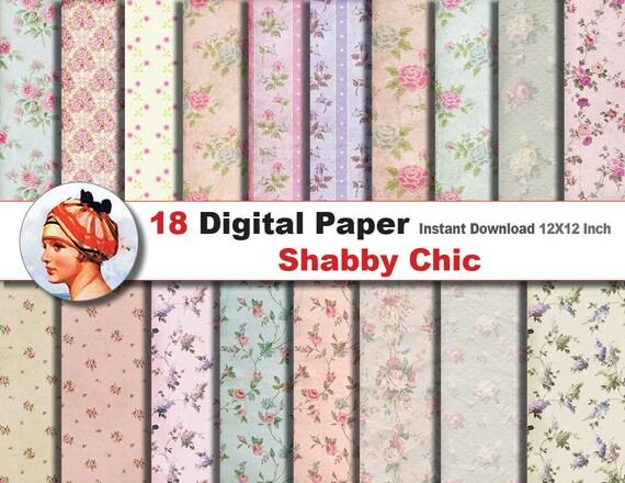 18 x Shabby Chic Digital Digital-Schnittmuster Papier