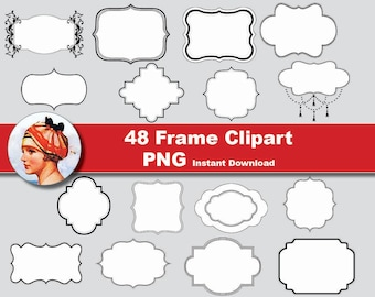 48x Frame Clipart - printable Labels Tags  Digital Clipart Graphic Instant Download (No. 56)