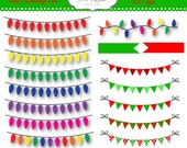 Items Similar To Christmas Lights Clipart Bunting And Banner Set