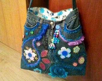 Decorated jeans bag
