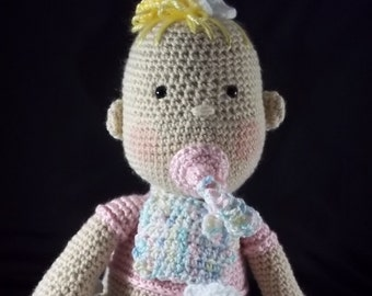 Oh So Cute Baby Doll with Pacifier and Diaper change – Pink/Multi Pastel - FREE SHIPPING
