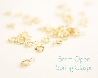 10 Pieces - 14k Gold Filled Spring Clasps - 5mm Open Spring Clasp - Jewelry Closure - Gold Clasp - Findings - Jewelry Supplies / GF-SC001